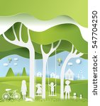 eco paper art design style  ... | Shutterstock .eps vector #547704250