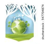 eco paper art design style  ... | Shutterstock .eps vector #547704874