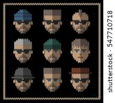 knitted flat icons set of men... | Shutterstock .eps vector #547710718