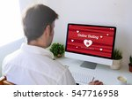 man dating online with computer.... | Shutterstock . vector #547716958