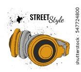 hand drawn vintage headphones.... | Shutterstock .eps vector #547724800