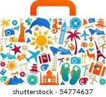 travel suitcase with many... | Shutterstock .eps vector #54774637