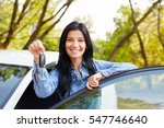 happy woman driver showing car... | Shutterstock . vector #547746640