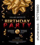 birthday party poster with red... | Shutterstock .eps vector #547758880