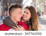 young teen couple having... | Shutterstock . vector #547761520