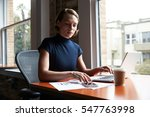 businesswoman working on laptop ... | Shutterstock . vector #547763998
