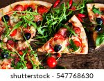 hot pizza slice with pepperoni  ... | Shutterstock . vector #547768630