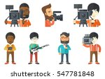 cameraman looking through movie ... | Shutterstock .eps vector #547781848