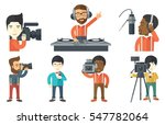 disc jockey mixing music on... | Shutterstock .eps vector #547782064