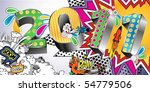 2011 in a colorful comic book... | Shutterstock .eps vector #54779506