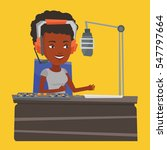 african american dj working on... | Shutterstock .eps vector #547797664