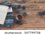 cup with tea bag  sweater  book ...   Shutterstock . vector #547799758