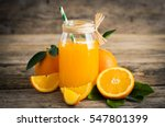 Fresh orange juice in the glass ...