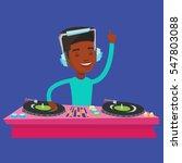 an african american dj in... | Shutterstock .eps vector #547803088