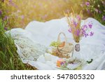 romantic picnic on the sunset... | Shutterstock . vector #547805320