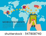 hands tapping smart phone with... | Shutterstock .eps vector #547808740