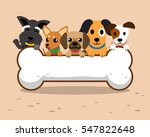 cartoon dogs and big bone | Shutterstock .eps vector #547822648