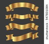 set of golden ribbons on gray...   Shutterstock .eps vector #547831084