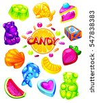 jelly candy set. illustration... | Shutterstock . vector #547838383