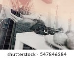 Double Exposure Of Young Man...
