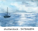 watercolor sea boat and cloudy... | Shutterstock . vector #547846894