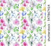 watercolor flower pattern | Shutterstock . vector #547867414