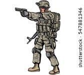 american soldier with gun | Shutterstock .eps vector #547881346