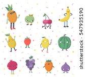 cute cartoon live fruits vector ... | Shutterstock .eps vector #547935190
