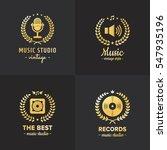 music studio and radio gold... | Shutterstock .eps vector #547935196