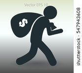 thief with bag of money vector... | Shutterstock .eps vector #547943608