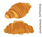 set of croissants isolated on a ... | Shutterstock .eps vector #547943926