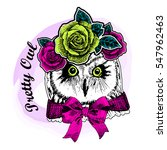 vector owl with bow and wreath. ... | Shutterstock .eps vector #547962463