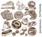desserts and sweets isolated on ... | Shutterstock .eps vector #547964446