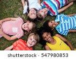 happy children lying on grass... | Shutterstock . vector #547980853