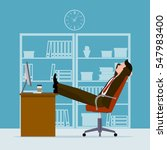 man has a rest in a workplace.... | Shutterstock .eps vector #547983400