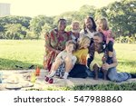 family picnic outdoors... | Shutterstock . vector #547988860