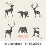 hand drawn deers and bears for... | Shutterstock .eps vector #548015083