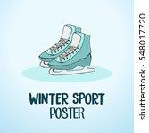 winter sport hand drawn poster... | Shutterstock .eps vector #548017720