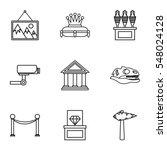 gallery in museum icons set.... | Shutterstock . vector #548024128