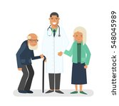 pensioners with doctor vector... | Shutterstock .eps vector #548045989