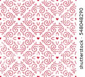 seamless pattern with hearts in ... | Shutterstock .eps vector #548048290