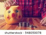 close up of a giant  piggy bank ... | Shutterstock . vector #548050078