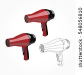 realistic red hair dryer... | Shutterstock .eps vector #548056810