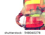 double exposure rows of coin... | Shutterstock . vector #548060278