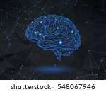 low poly blue wireframe brain... | Shutterstock .eps vector #548067946