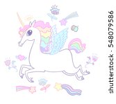 the cute magic unicorn and... | Shutterstock .eps vector #548079586