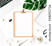 home office workspace mockup... | Shutterstock . vector #548092726