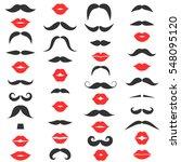set of mustache and women's red ...   Shutterstock .eps vector #548095120