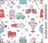 vector valentines day seamless...   Shutterstock .eps vector #548098540