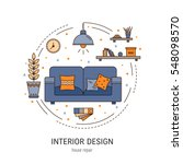 Interior design round concept made in modern line style. Living room vector illustration. Can be used for infographics design, web elements. | Shutterstock vector #548098570